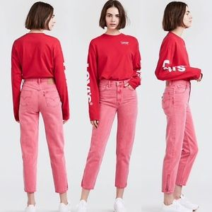 Levi's High Waisted Ankle Zip Mom Jeans Faded Red